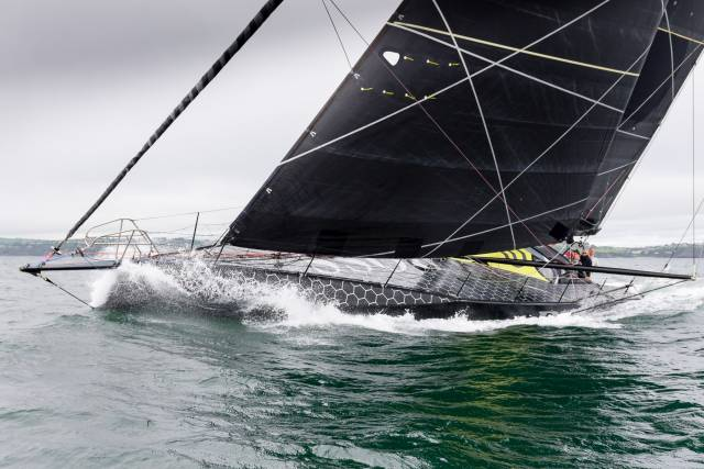 The striking IMOCA 60 Hugo Boss will be sailing across Dublin Bay today and tomorrow with Alex Thomson and Irish Vendee Globe entrant Nicholas O'Leary onboard