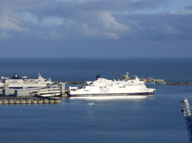 Rival operators DFDS and P&O Ferries berthed at the Port of Dover