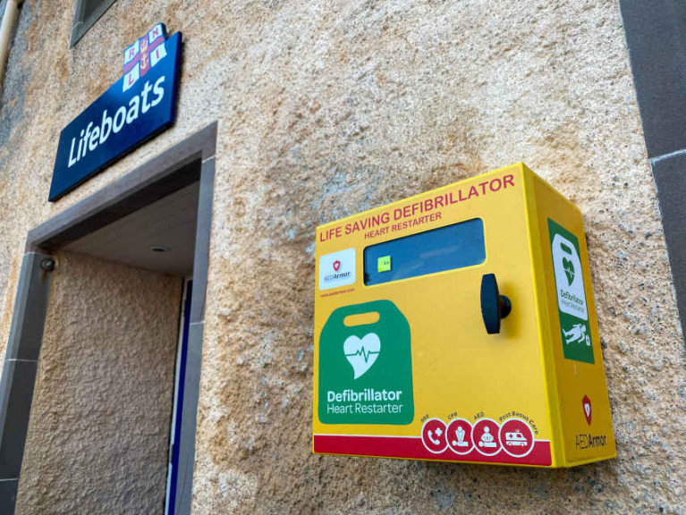 The defibrillator cabinet at Lerwick RNLI