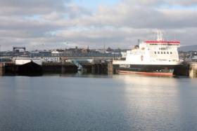 IOM Steam Packet vessels, fastferry Manannan and ropax Ben-My-Chree docked in Douglas Harbour