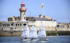 Optimist dinghy competitors return to Dun Laoghaire Harbour after today's Leinster Championship conclusion at the Royal St. George YC