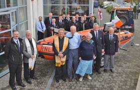 Celia Mary's widower Peter Ross and best friend Rea Hollis joined by local clergy and RNLI staff at the naming ceremony in Clifden yesterday