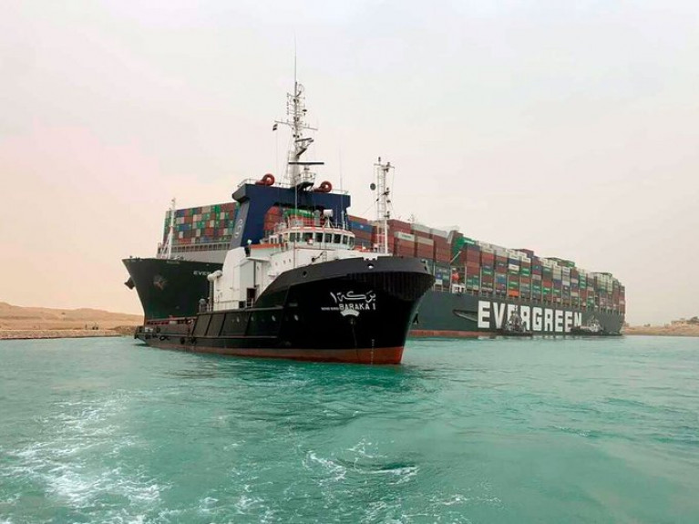 Giant Containership Blocks Suez Canal after 'Gust of Wind' Knocks it off Course