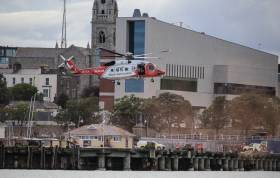 Coastguard helicopter 116 lands at the Carlisle Pier, Dun Laoghaire in 2017