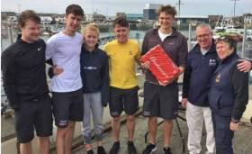 The successful Cork Institute of Technology team at the Student Yachting Selection Trials at Howth over the weekend were (left to right) Ewan O'Keeffe, Mark Murphy, Morgan Knight, Harry Durcan (helmsman) and Grattan Roberts, with Commodore Ian Byrne HYC, and Race Officer Scorie Walls