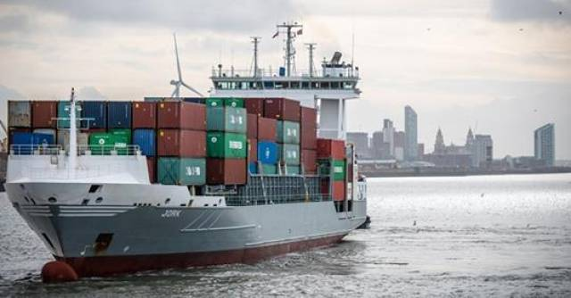 The addition of Chinese shipping giant COSCO now brings the world's top five shipping lines all now calling at Liverpool Port where above containership Jork is seen on the Mersey.