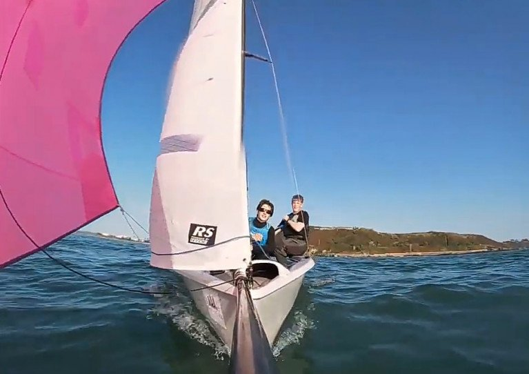 Young Cork dinghy racer Griff Kelleher and crew at sail