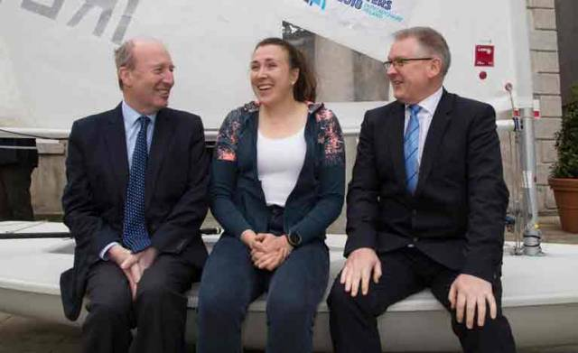 The 2018 Laser dinghy Masters World Championship will be sailed off Dun Laoghaire. Pictured at today's launch are Shane Ross T.D. Minister for Transport, Tourism and Sport with Annalise Murphy, 2017 Olympic Silver Medalist in the Laser class at the Rio Game, (who will act as event ambassador) and Paul Keeley, Director of Business Development with Failte Ireland