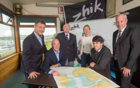 Dinghy launch – Nick Bendon of CH Marine, Paul O'Regan Harbour Master with Port of Cork, Vice Admiral RCYC Pat Farnan, Sarah McKeown of Port of Cork, Event Chairman Nicolas O'Leary, Rear Admiral Dinghies RCYC Stephen O'Shaughnessy.