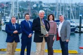 Bobby Nash, Sovereigns Cup Regatta Director holding the Michelle Dunne Prix d' Elegance trophy with Kinsale Yacht Club Commodore Dave O'Sullivan; Brian Goggin and Hellen Kelly from sponsors O'Leary Life and celebrity chef Martin Shanahan of Kinsale's award-winning Fishy Fishy restaurant pictured at the launch of the O'Leary Life Sovereign's Cup at Kinsale Yacht Club