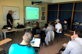 Bill O'Hara deals with rules questions at the Irish Laser Radial Academy in Cadiz this week