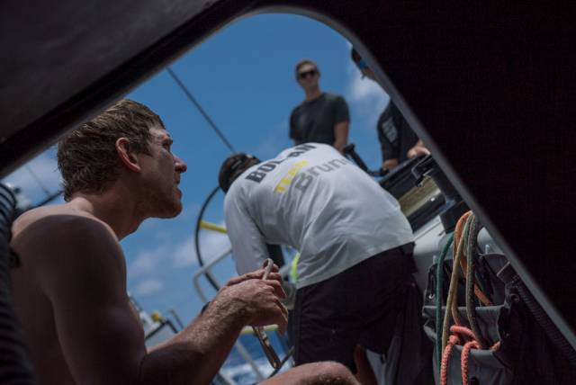 Peter Burling getting ready for sail change on board Team Brunel earlier today, Saturday 24 February