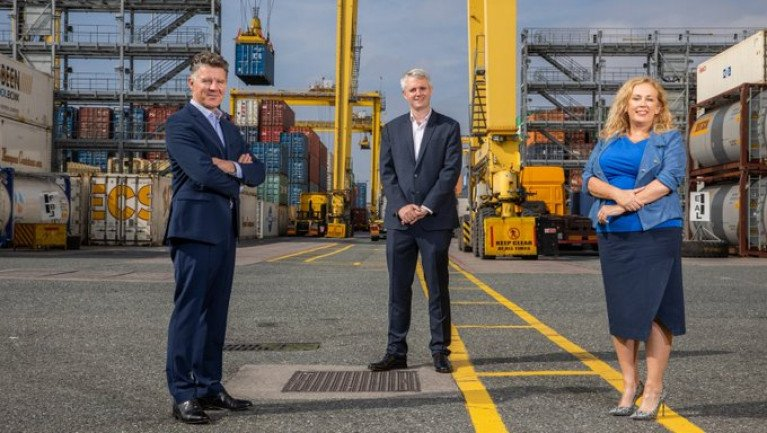 At Dublin Port announcing the launch of new customs clearance service, Declaron was Michael Costello, Managing Partner, BDO Ireland; Denis McCarthy, CEO of FEXCO; and Carol Lynch, Partner in BDO Customs and International Trade Services.