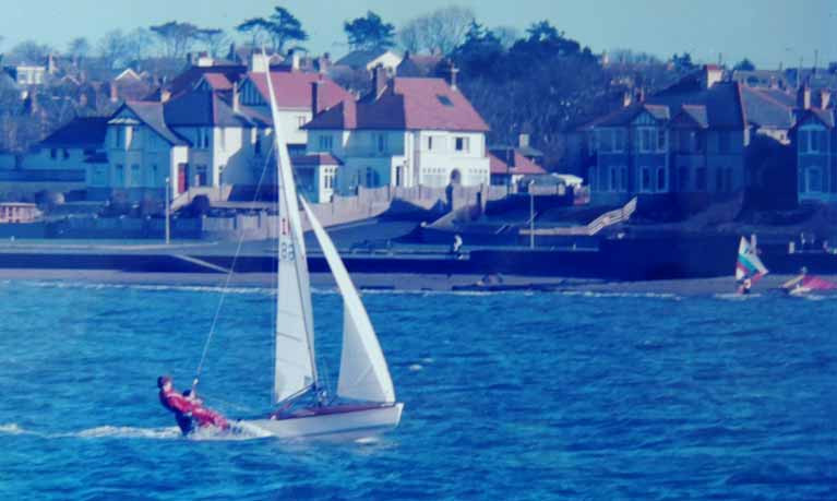 Julian Cooke and Jackie Patton sailing a 505 in Ballyholme Bay in 1985
