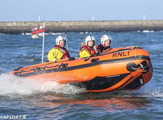 Dun Laoghaire's RNLI inshore lifeboat was called out to a swimmer on Dublin Bay today. Lifeboat cre onboard were (left to right) Damien Payne, Laura Jackson and PJ Gallagher