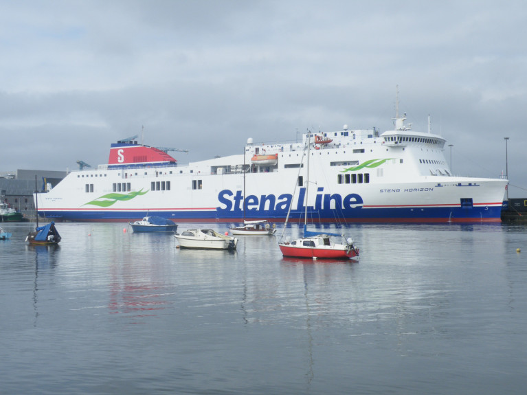Brexit Reality: As ferry company, Stena has placed them (dockers) on the UK Government wage scheme as they wait for demand to return (to the Port of Holyhead). As NorthWalesLive also highlighted a move that has also sparked fears arise, as the operator next week is to replace Stena Estrid (last Saturday deployed to Dublin-Cherbourg duties) with the smaller Ireland-France route's routine 'Visentini' class ro pax Stena Horizon pictured above by AFLOAT on a previous relief stint on the Irish Sea route.