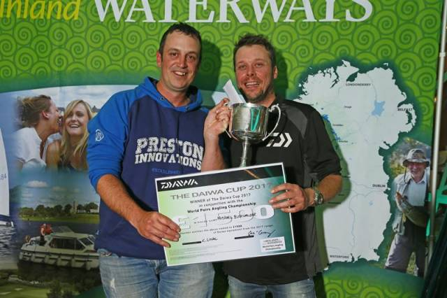 World Pairs title co-holder Michael Buchwalder (left) also won the Daiwa Cup at the angling event in the Lakelands earlier this month
