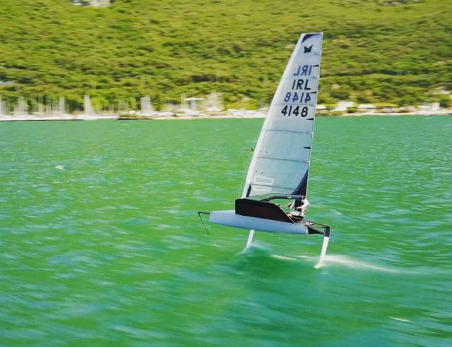 Kenefick in full flight in his new Moth dinghy at Lake Garda