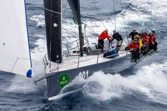 In the groove. Matt Allen's new TP 52 Ichi Ban, with Gordon Maguire as Sailing Master, on her way to overall victory in the Rolex Sydney Hobart Race 2017