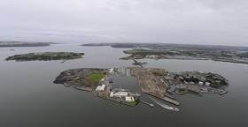 The Naval Service base occupies most of Haulbowline Island in Cork Harbour