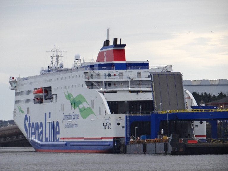 EU says customs checks and controls on some goods from mainland Britain required. Above AFLOAT adds is an Irish Sea serving 'new' ferry Stena Edda which entered service in March on the Northern Ireland-Britain route between Belfast and Birkenhead (Merseyside) opposite of Liverpool. The Twelve Quays Terminal was upgraded to accommodate the second E-FLexer series ferry built in China which accommodates 1,000 passengers, 120 cars and 3,100 lane metres for freight vehicles.