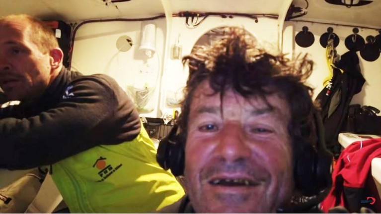 Kevin Escoffier, left, was rescued by Jean Le Cam and the pair appeared via video link from Le Cam's yacht