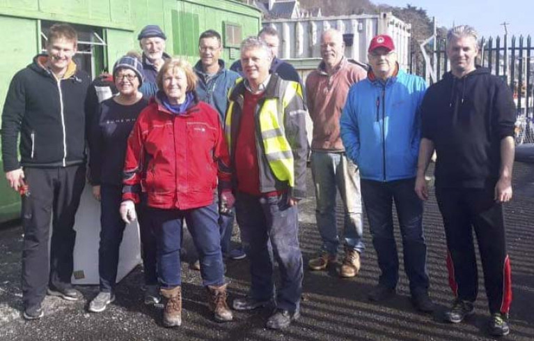 Cove Sailing Club members at a 'getting the club grounds ready for the season'