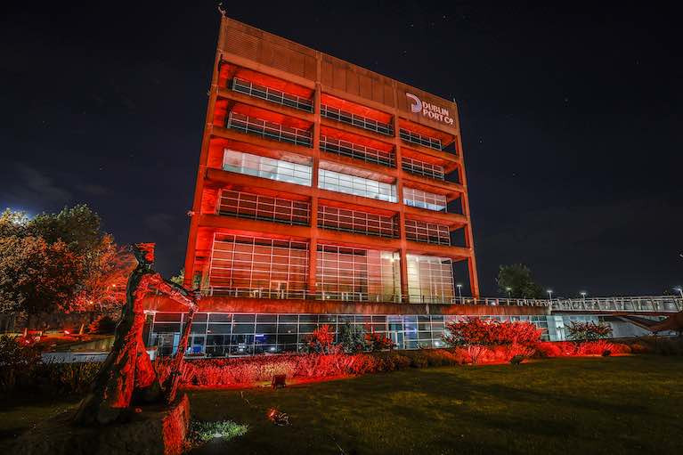 Dublin Port Company turns its landmark Port Centre building red