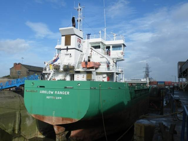 A sister of Arklow Rose, the Rotterdam registered Arklow Ranger is seen docked in Dublin Graving Docks. The facility closed with the loss of 26 jobs in April. What was the largest dry-dock in the Republic, is now that of Cork Dockyard, where Arklow Rose arrived this morning.