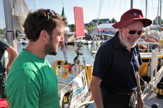 Gregor McGuckin (left) and Sir Robin Knox-Johnston ahead of the start of the Golden Globe Race
