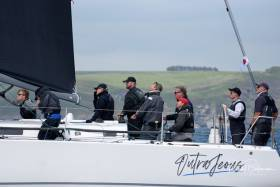Howth Yacht Club's new J109 campaign Outrajeous (Richard Colwell and John Murphy) leads IRC One after day one of the Sovereign's Cup