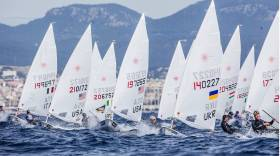 James Espey (206752, fourth from left) and Finn Lynch (182600, third from right) in today's tight first race of the Laser class at the Trofeo Princesa Sofia Regatta in Palma. The event is the second part of the Irish mens Laser trial for the Rio Olympics