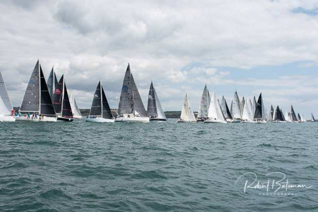 A combined start for the whole Cork Week fleet on a 1km start line was some sight during the traditional harbour race