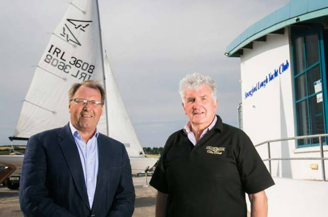 One of the event's organisers, Roger Chamberlain is pictured with sponsor Willowbrook Foods Managing Director, John McCann MBE at Strangford Lough Yacht Club at Whiterock, ahead of the Flying Fifteen Championships of the British Isles beginning on the 27th June 2018