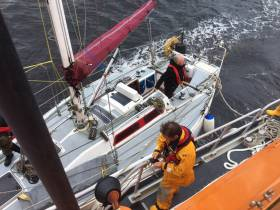 The yacht was taken under tow and brought safely back to Ballycastle in an operation lasting four hours