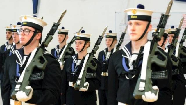 Members of the Naval Service Recruit Class 'Sullivan' at their Passing Out Parade at the Naval Base, Haulbowline, Co. Cork.