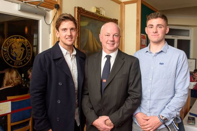 Ryan Seaton (left) with Royal Cork Yacht Club Rear Admiral Stephen O'Shaughnessy (centre) and Seafra Guilfoyle