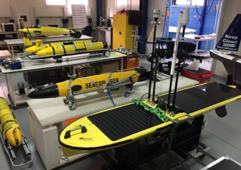 Marine research gliders at PLOCAN in the Canary Islands