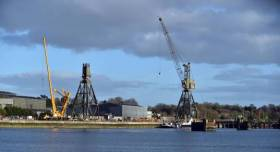 The changing waterfront scene of the old Verolme dockyard in Rusbrooke, Cork Harbour as the cranes are dismantled this week.