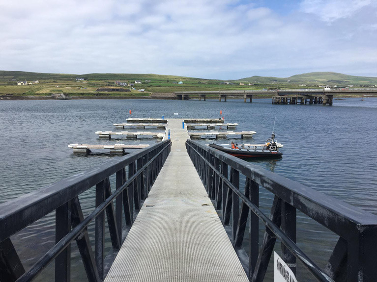 The pontoon mini marina situated in the Kerry village of Portmagee