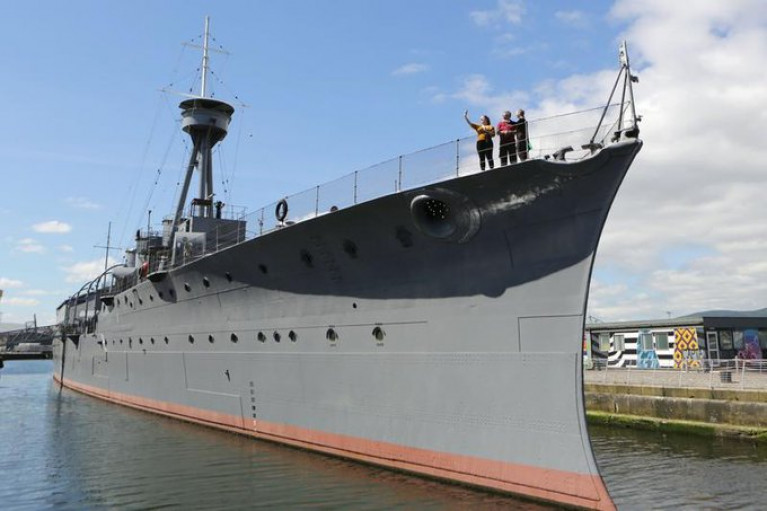 WW1 veteran battle-cruiser HMS Caroline, which like many attractions, has been closed to stop the spread of coronavirus during the pandemic.
