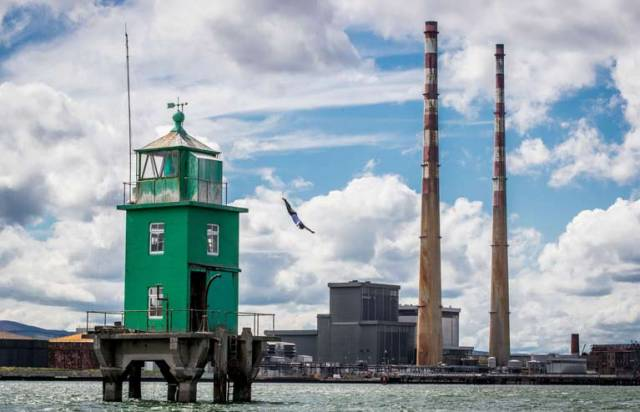 Diving at the iconic Northbank Lighthouse in Dublin Bay on 2 May to celebrate the return of the Red Bull Cliff Diving World Series to Ireland
