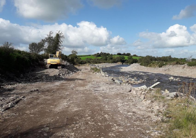 "Inland Fisheries Ireland officers photographed a ""working site"" with evidence of gravel removed from the Gaddagh River"