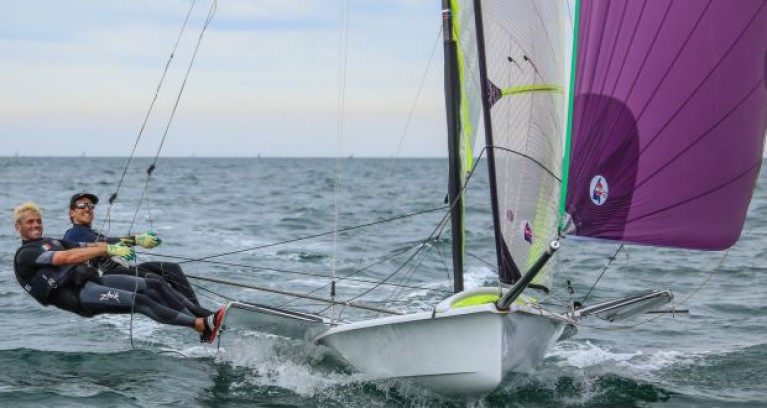 Seafra Guilfoyle (left) sailing with Ryan Seaton in the Oympic 49er dinghy. Guilfoyle has been appointed a 'Dare to Believe' Athlete Ambassador by the Olympic Federation