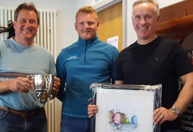 Andy McCleery (left) and Colin Dougan (right) are presented with their East Coast Prizes at County Antrim Yacht Club