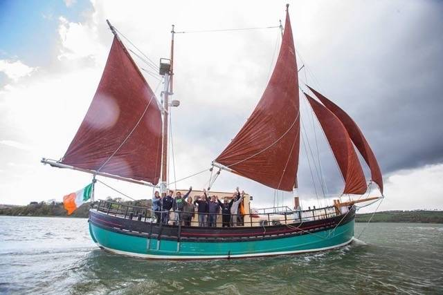 A traditional gaff rigged ketch, The Brian Boru, operates on the Waterford Estuary