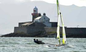 A 49er sailing in Tralee Bay