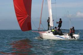 A perfect day for their first sail - pupils of Tokai School in Japan were introduced to sailing in Quest's J/80s at Howth, in this case with instructor Alex Delamer.