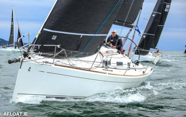 On the wind after a successful exit from a leeward mark for the Dublin Bay Beneteau 34.7 Black Velvet