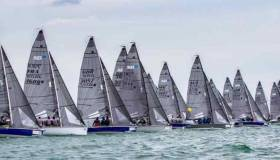 Michael O'Connor's Sin Bin (IRL3544) in the front row of an SB20 Worlds start on day three in Cowes yesterday